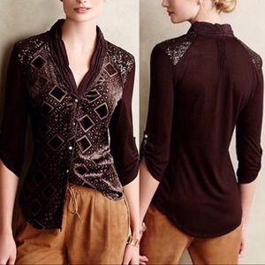 NWT Anthropologie Leighton Velvet Silk Button Down